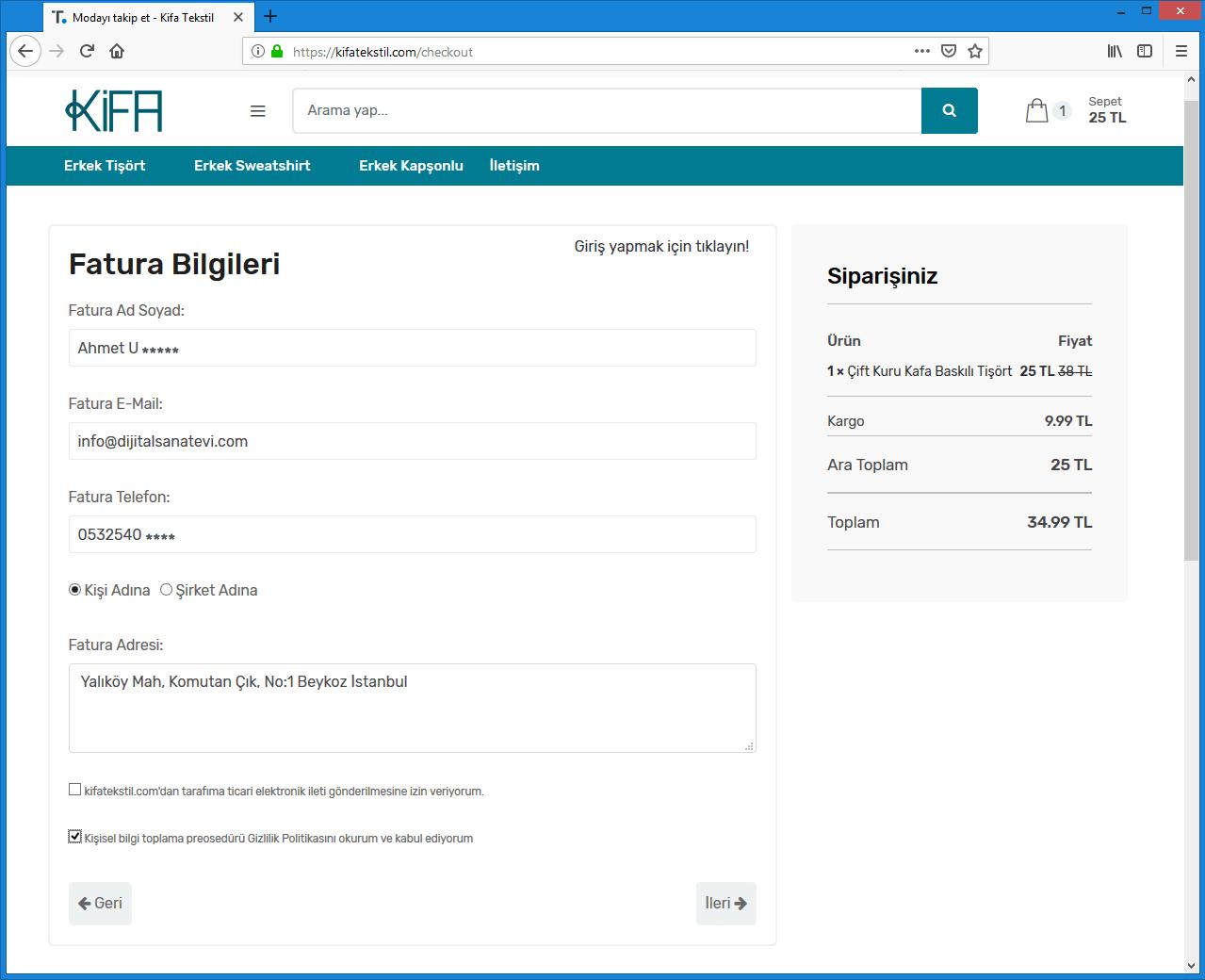 E-Ticaret Sipariş Fatura Bilgileri